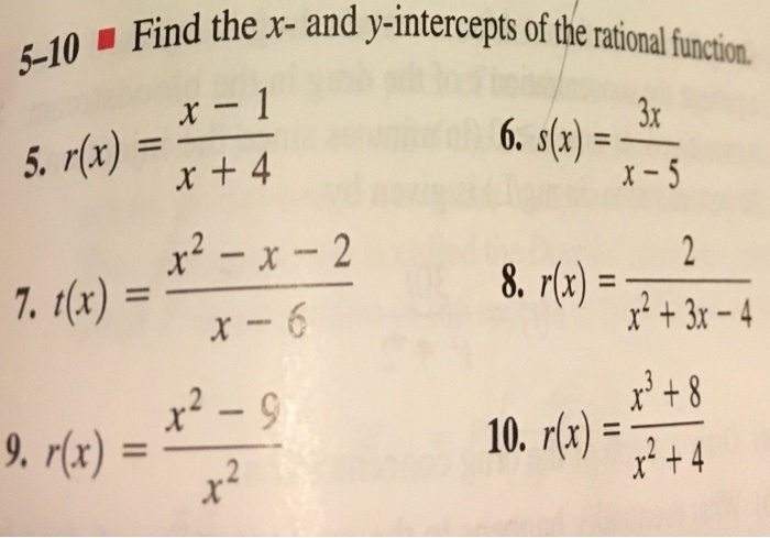 how to find x intercept of a rational function-4