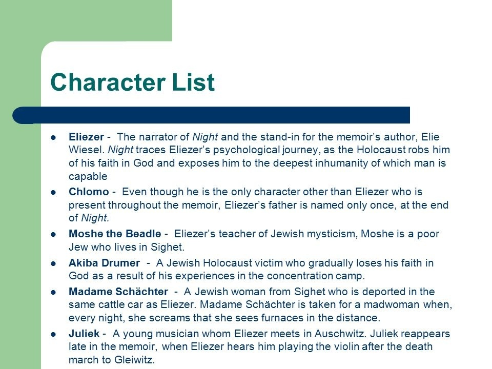 who is the main character in night by elie wiesel-1